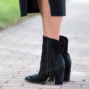 Dolce Vita Ileen Black Suede Fringe Heel Boot - 7
